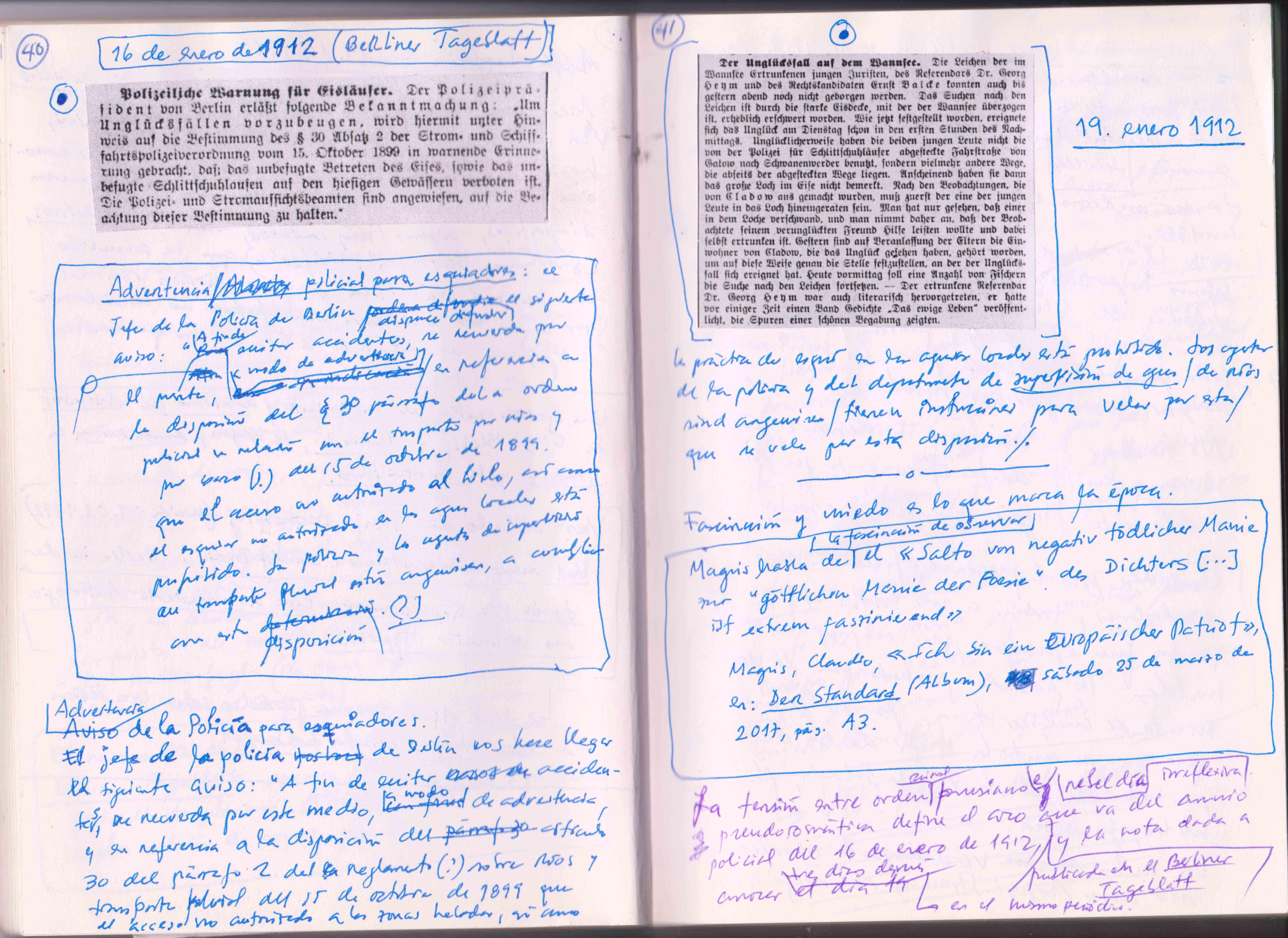 Cuaderno de trabajo del traductor José Aníbal Campos, con el aviso de la policía berlinesa del día 16 de enero de 1912 (día de la muerte de Heym) y la noticia de la recuperación de su cadáver, tres días después, el 19 de enero.