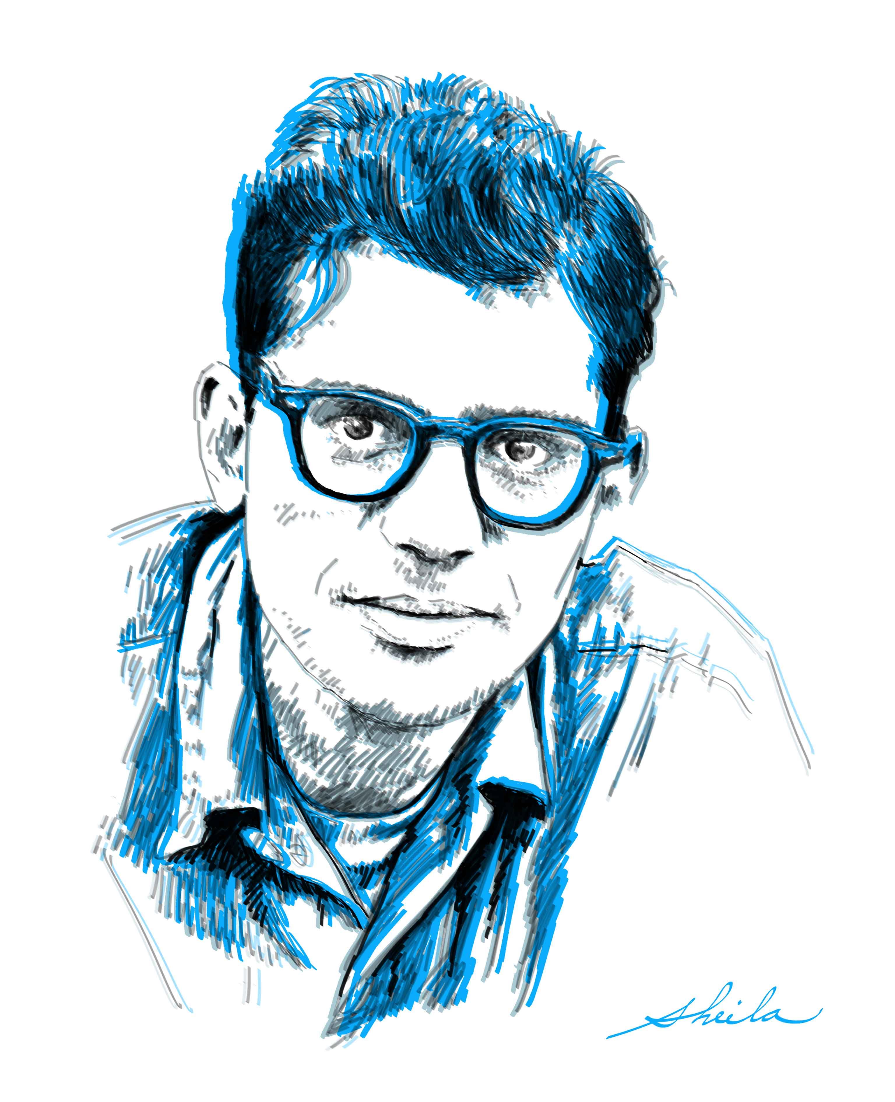Retrato del poeta Allen Ginsberg por la artista plástica Sheila Alvarado.