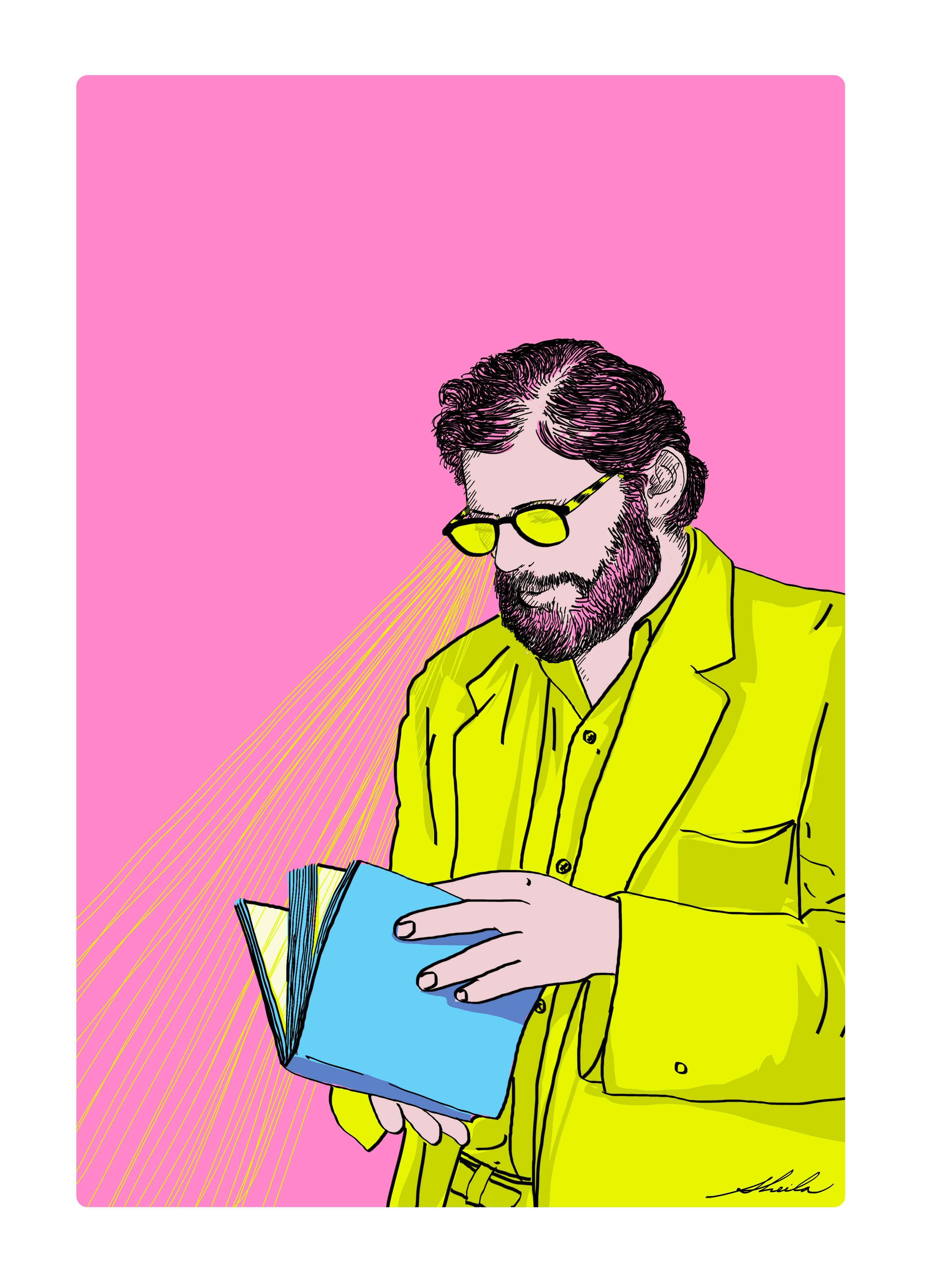 Ilustración de la artista plástica Sheila Alvarado en base a una foto de Allen Ginsberg durante el recital en el Instituto de Arte Contemporáneo de Lima (IAC), en mayo de 1960.