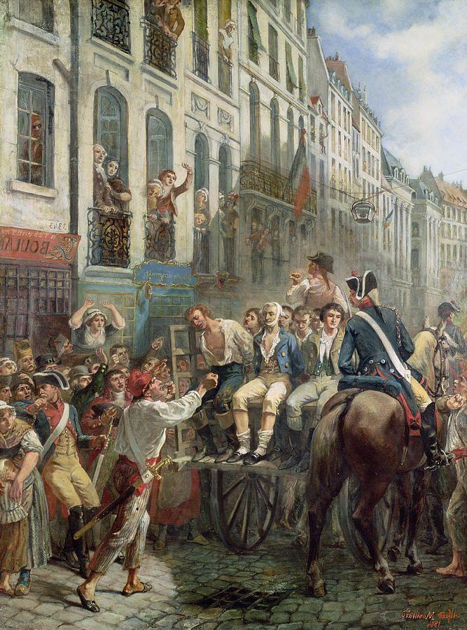 Robespierre, con vendaje, siendo trasladado al patíbulo. Pintura por Alfred Mouillard.