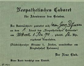 La invitación para acudir a la primera velada del Cabaret Neopatético, el día 1 de junio de 1910.