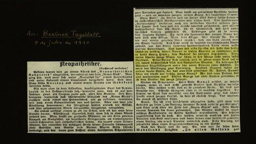 Fragmento de la reseña publicada el 7 de julio de 1910 en el Berliner Tageblatt sobre la segunda velada de los «Neopatéticos». El párrafo marcado corresponde a los comentarios sobre la lectura de Georg Heym.