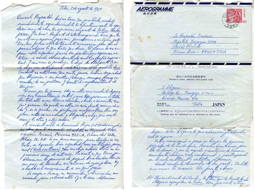 Carta de Javier Sologuren a Reynaldo Jiménez.