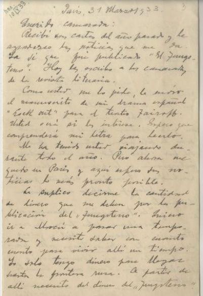 Primera carta de César Vallejo a Fédor Kelin, fechada el 31 de marzo de 1933. Archivo de los autores.